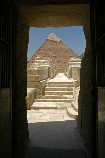 Cairo, Egypt Taken from inside the valley temple of khafre.  With the Khafre pyramid ( the second largest of the three main pryramids) in the back ground.