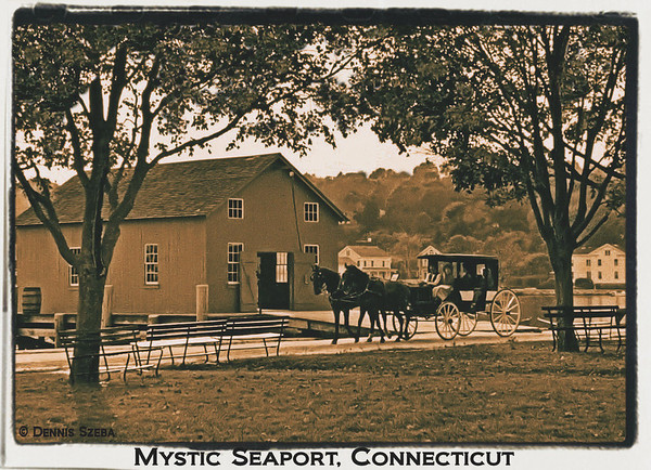 Mystic Seaport made to look like a vintage photo.