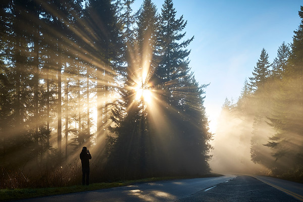 Sunlight rays at Mount Seymour in North Vancouver, British Columbia.