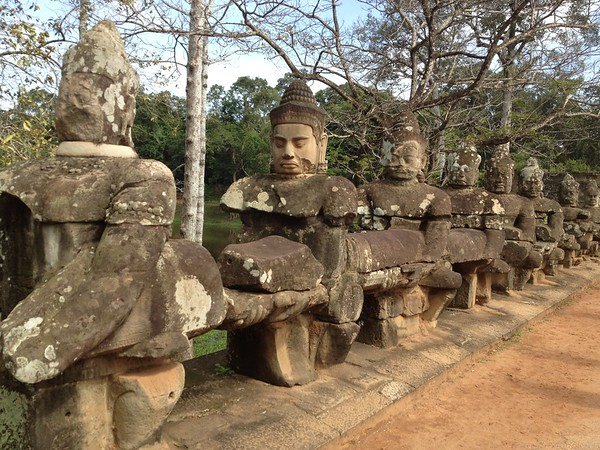 Statues on the North Gate to Angkor Thom