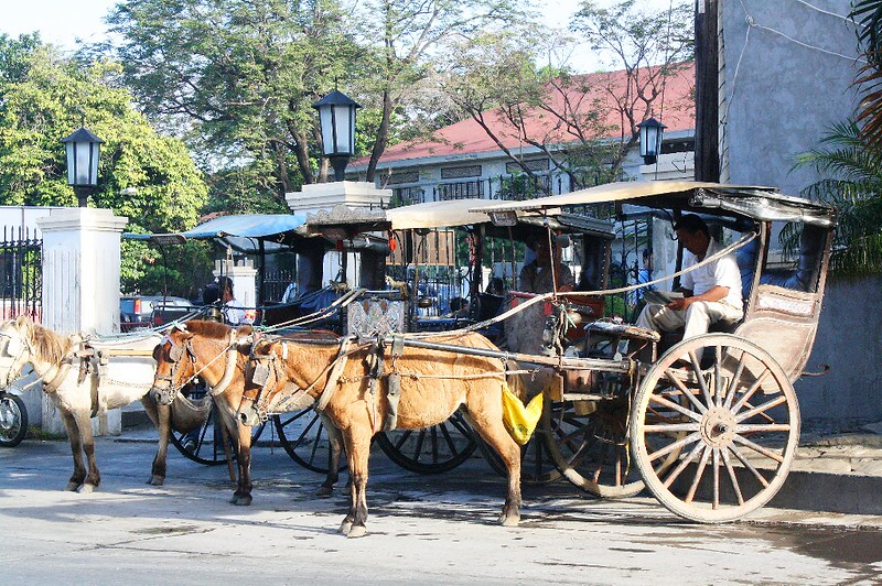 Horse-driven carriages in Vigan