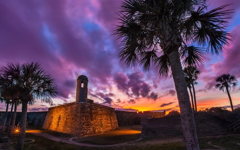 Purple Sky Over Castillo de San Marcos, Saint Augustine, Florida