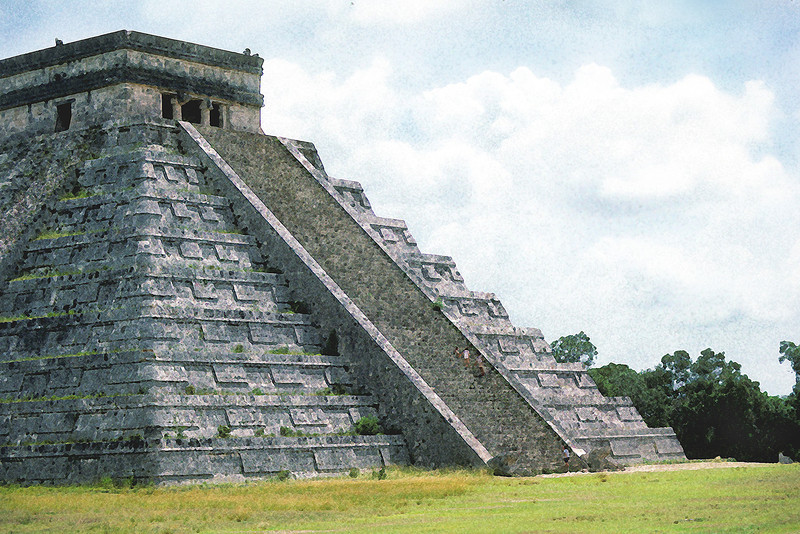 Chichen Itza temple. Mexico 1987.