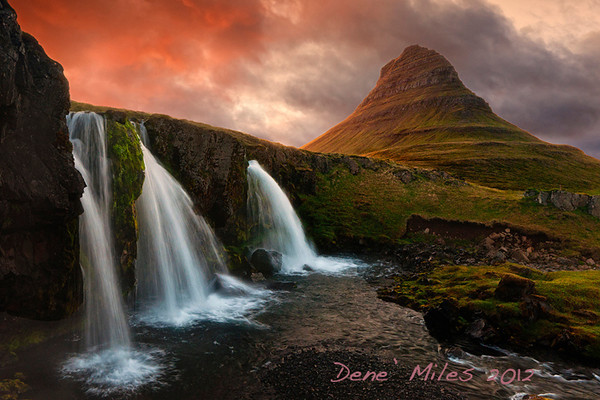 Waterfall in Iceland at sunset