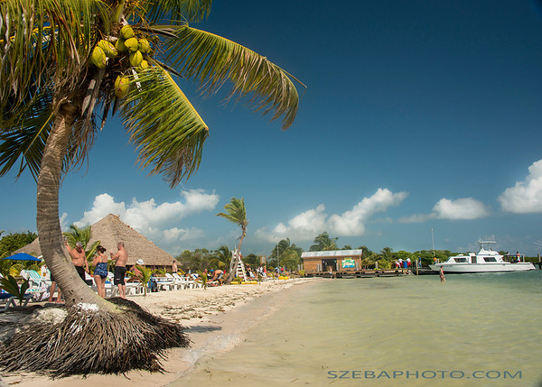 Island beach in Belize. 2014