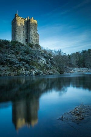 The Borders Tower that is Neidpath Castle stands proud over the River Tweed near Peebles in the Scottish Borders