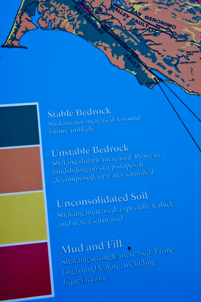 Lanie and I were laughing at this particular interpretive sign.  It tells what happens to different types of soil/bedrock during an earthquake and we found it funny because during a massive earthquake, regardless of what type of soil/bedrock is under you, damage will occur and it's going to be scary no matter what.  And if you live in the red zone, then what?  What are the proper survival techniques for liquefaction?  Is there a swimming class for that?