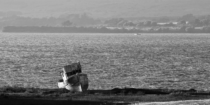 Abandoned boat on Tomales Bay by the small town of Inverness.
