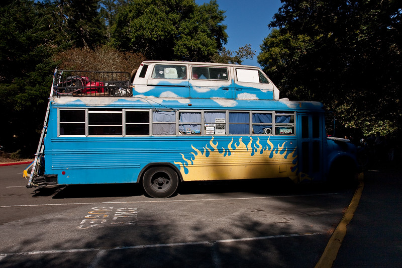 An interesting-looking bus.  Notice the old VW van on top.  There were surfboards, bikes, musical instruments, etc. on this bus