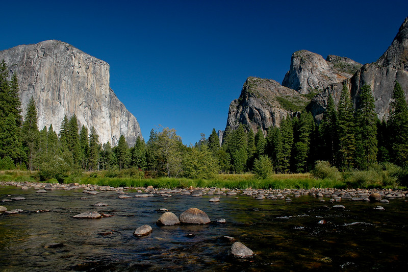 El Capitan, the Merced River, Cathedral Peak, and Bridal Veil Falls