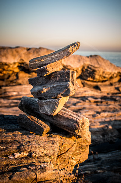 Rock Cairn at Pemaquid Point Lighthouse