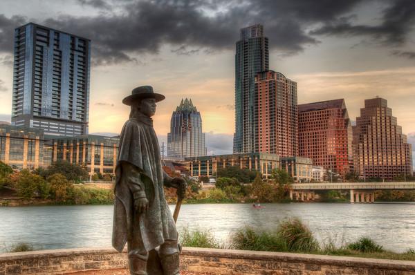 Stevie Ray Vaughn statue on Town Lake Austin, TX