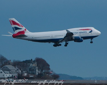 British Airways Boeing 747 jumbo jet landing at Boston's Logan Airport.