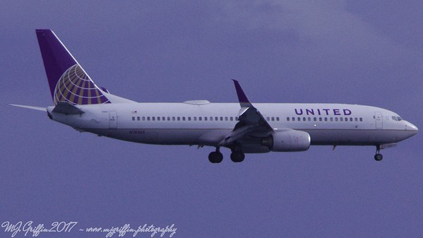 United Airlines Boeing 737 on approach to Boston's Logan Airport.