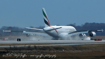 Emirates Airbus A-380 landing at Boston's Logan Airport.