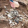 Close-up of some wreckage at one of the memorials.