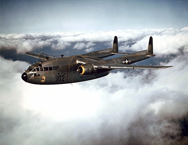 Photo of a C-119, the flying boxcar.