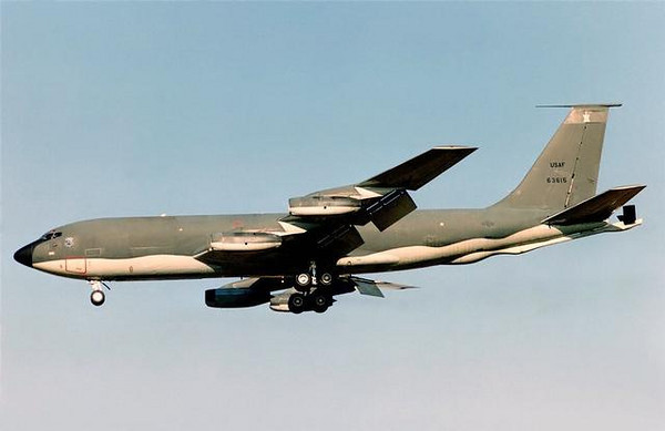 The Boeing  KC-135 Stratotanker was the first jet powered aerial refueling tanker of the US Air Force, replacing the KC-97 Stratotanker. Similar in design to the later and enlarged Boeing 707 airliner, it was initially tasked to refuel strategic bombers, but was used extensively in the Vietnam war and later conflicts such as Desert Storm to extend the range and endurance of both Air Force and Navy tactical fighters and bombers.<br /> <br /> Serving with the United States Air Force since 1957, it is one of just six military fixed wing aircraft with over 50 years of continuous service with the original service along with the Tupolev Tu-95, the C-130 Hercules, the B-52 Stratofortress, the English Electric Canberra and the Lockheed U-2. Supplemented by the larger KC-10, complete replacement is still under study by the Air Force. Despite increased maintenance costs, studies conclude many of the aircraft could be flown until 2040, with ages reaching 80 years before reaching lifetime flying hour limits.