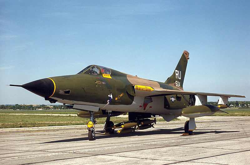 The Republic F-105 Thunderchief, was a supersonic  fighter-bomber used by the United States Air Force. The Mach 2 capable F-105 bore the brunt of strike bombing over North Vietnam during the early years of the Vietnam War. <br /> <br /> The F-105 was also armed with missiles and a cannon; however, its design was tailored to high-speed low-altitude penetration carrying a single nuclear bomb internally. First flown in 1955, the Thunderchief entered service in 1958. As the largest single-engined fighter ever employed by the USAF, the single-seat F-105 would be adapted to deliver a greater bomb load than the four-engined, 10-man strategic bombers of World War II like the B-17 and B-24.