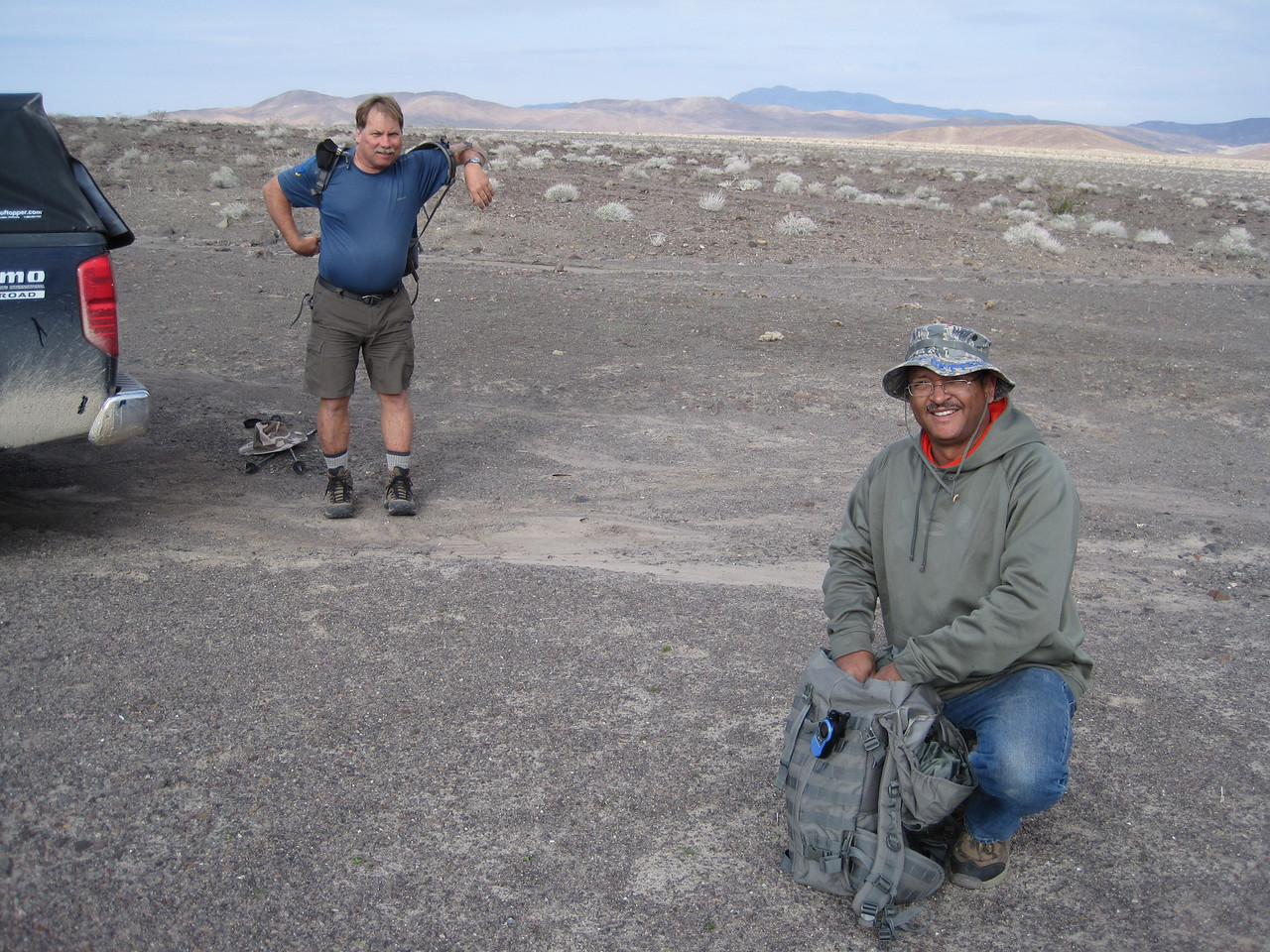 Lewis (left) and Luis (right) prepare for a day of exploring some rugged terrain.