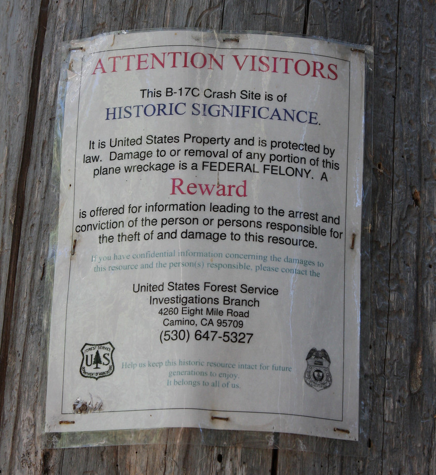 This wreck site has been quite popular with hikers due to its easy access. Over the years pieces of the plane go missing. Because of this the US Forest Service have placed these notices all round the wreckage.