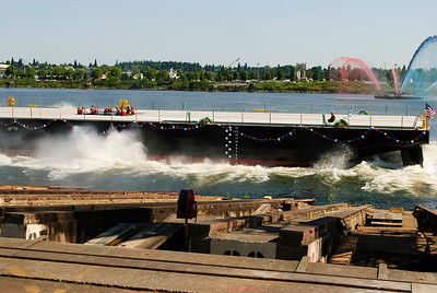 7.07.12  A new barge makes a big splash!  A brand new 250' barge slides into the water.  Portland, Oregon