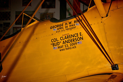 1941 N3N-3 Naval Aircraft Factory biplane.  Flown by George H.W. Bush and Col. Bud Anderson.