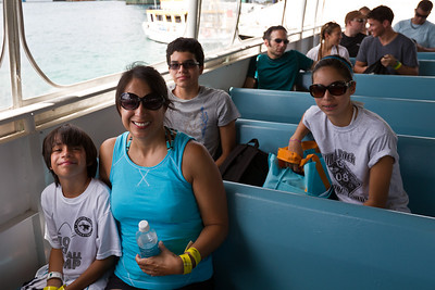 On the boat heading to Blue Lagoon Island to go swimming with the dolphins.