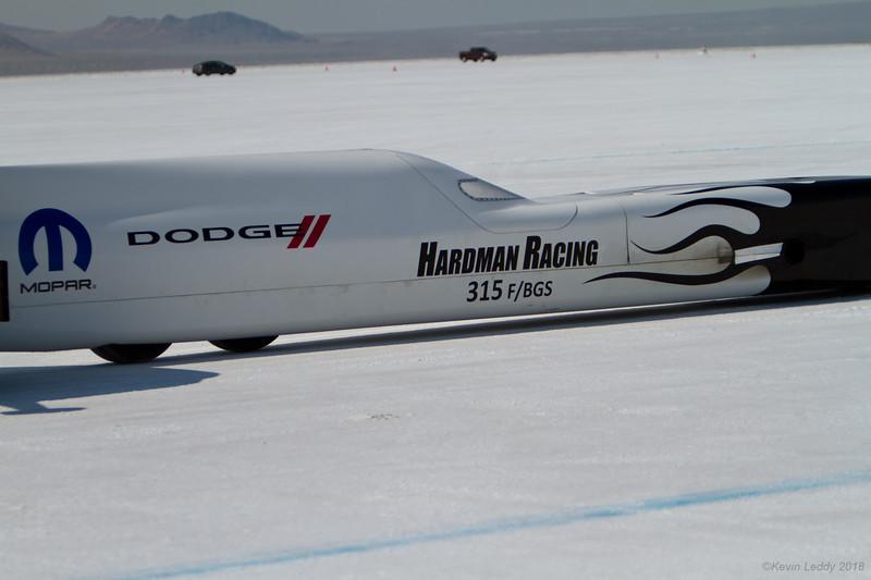 Ken Hardman's 2.1L Blown Gas Streamliner starts a shakedown run at Bonneville 2018