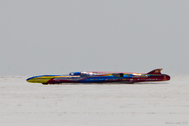 The Turbinator II on it way to a qualifying record run at Bonneville 2018