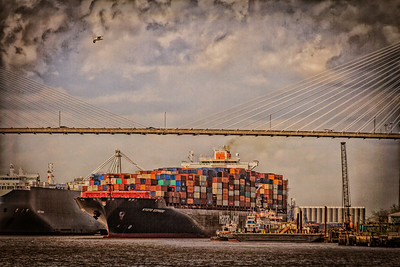 Topaz Textures grunge Incoming Cargo ship on river GA Savannah-4154