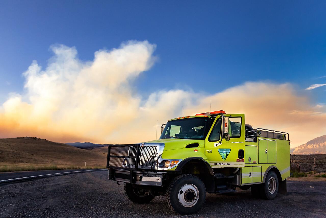 staged International 7400 fire truck