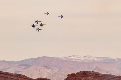 Blue angels and red rock