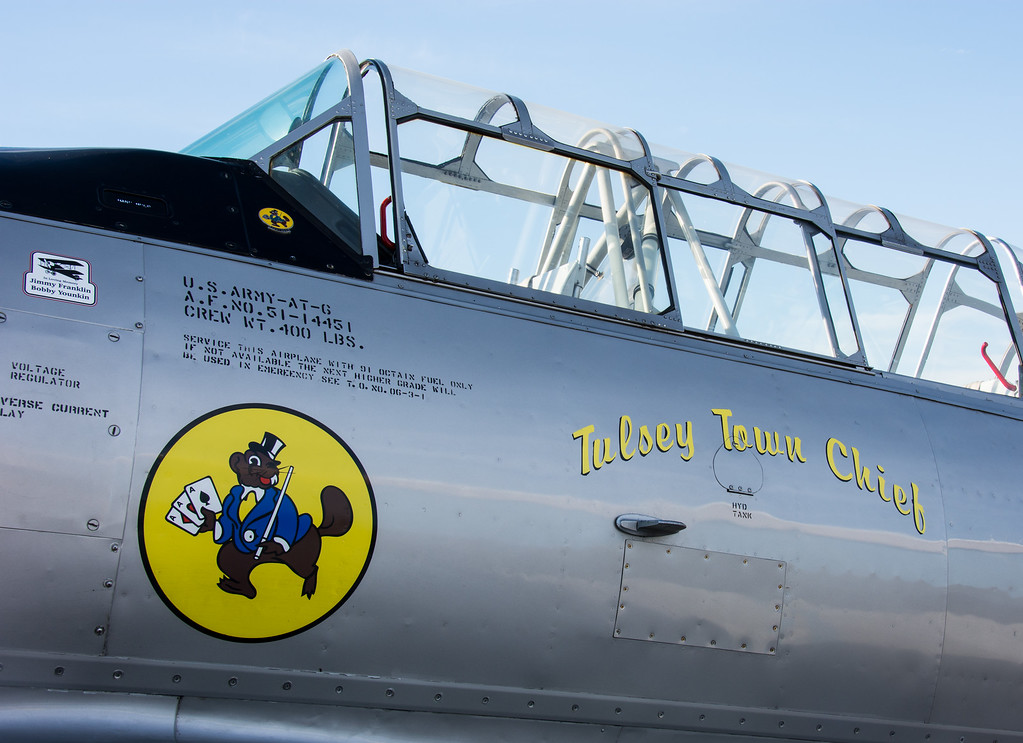 "The Tulsey Town Chief.  This North American T-6 ""Texan"" is operated by the Oklahoma Air National Guard, and nicknamed ""Tulsey Town Chief"".  (Tulsey Town being a very old name for Tulsa).<br /> <br /> The T-6 Texan is a single-engine advanced trainer aircraft used to train pilots of U.S. Army Air Forces, U.S. Navy, Royal Air Force and other air forces of the British Commonwealth during World War II and into the 1950s."