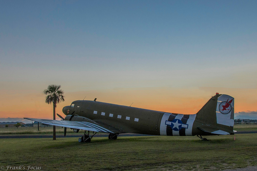 "This old Douglas C-47 sits at the entry to the Gillespie County Airport in Fredericksburg, Texas.  The ""nose art"" proclaims the name of this plane as ""Sleepy Time Gal"""