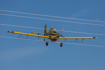 Cody Perrin in his Air Tractor 802 spray plane from Tri-County Ag in Wray, CO applies treatments to local wheat fields.