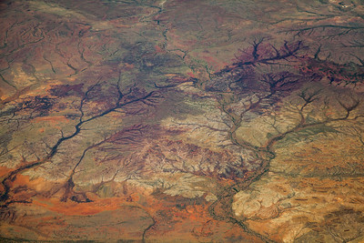 View from a plane of dried rivers, Nullagine WA Australia -22.243572, 120.595796 (Post work to increase contrast and clarity to compensate for atmospheric haze).