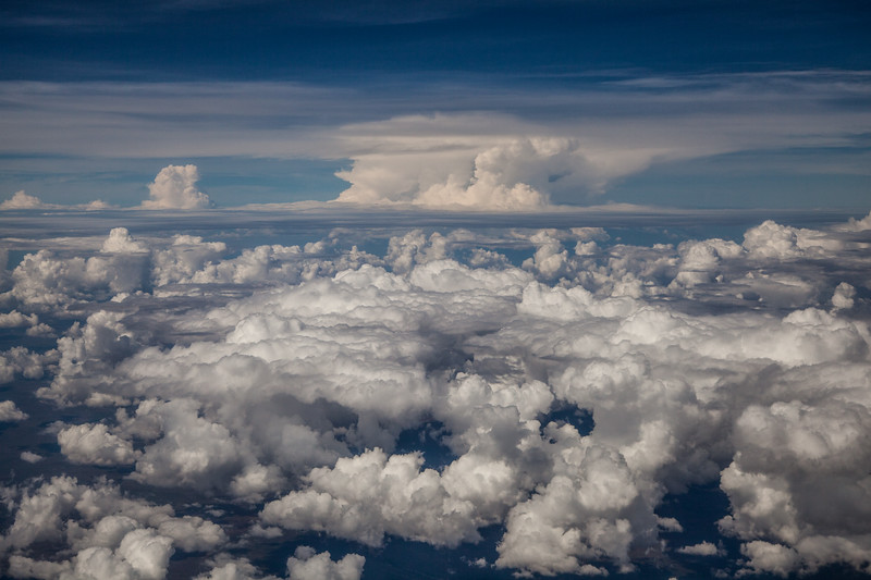 Cumulus storm cloud building over Western Australia (Post work to increase contrast and clarity to compensate for atmospheric haze).