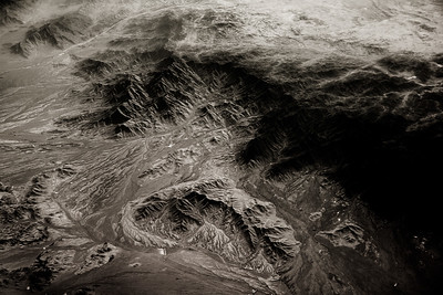 Black and white, view from plane of Lut Desert, Iran (Post work to increase contrast and clarity to compensate for atmospheric haze).