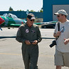 "I gave John some photos I'd taken of him and his fellow CJ fliers at the Wings Over the Wine Country show, and then we got down to ""business"", which means the pre-flight briefing, during which time the two Johns discussed their manuevers -- promising to ""go easy on me""."
