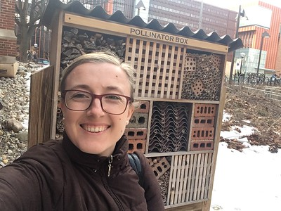 Ecokelly checking out the East Quad garden's Pollinator Box.