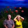 Milk Leady & her Husband Portrait with skies and flowers