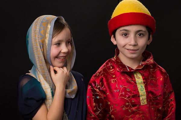 Indian girl in sari & Russian guy in red