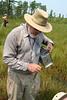 Ted collects a plant specimen, while Bill Olson  captures a dragonfly in the background.