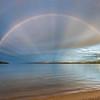 Rainbow over Lake Te Anau. Brod Bay, Kepler Track.