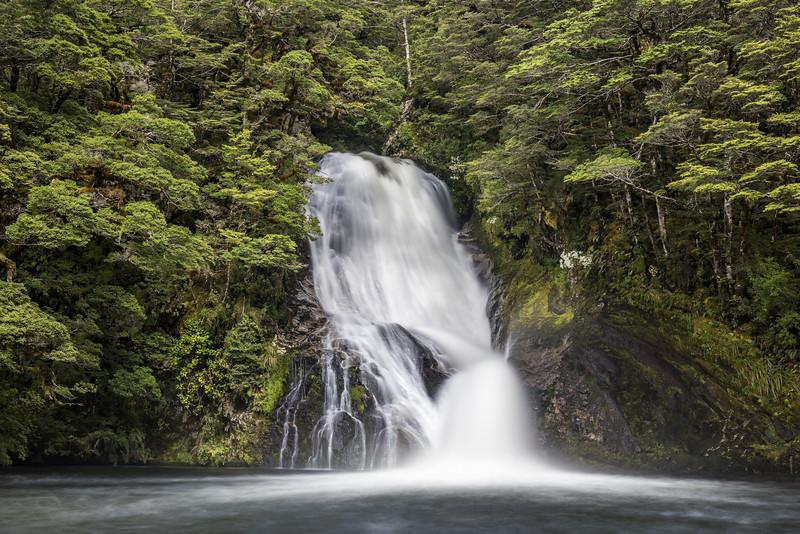Iris Burn waterfall. Kepler Track, Fiordland National Park.