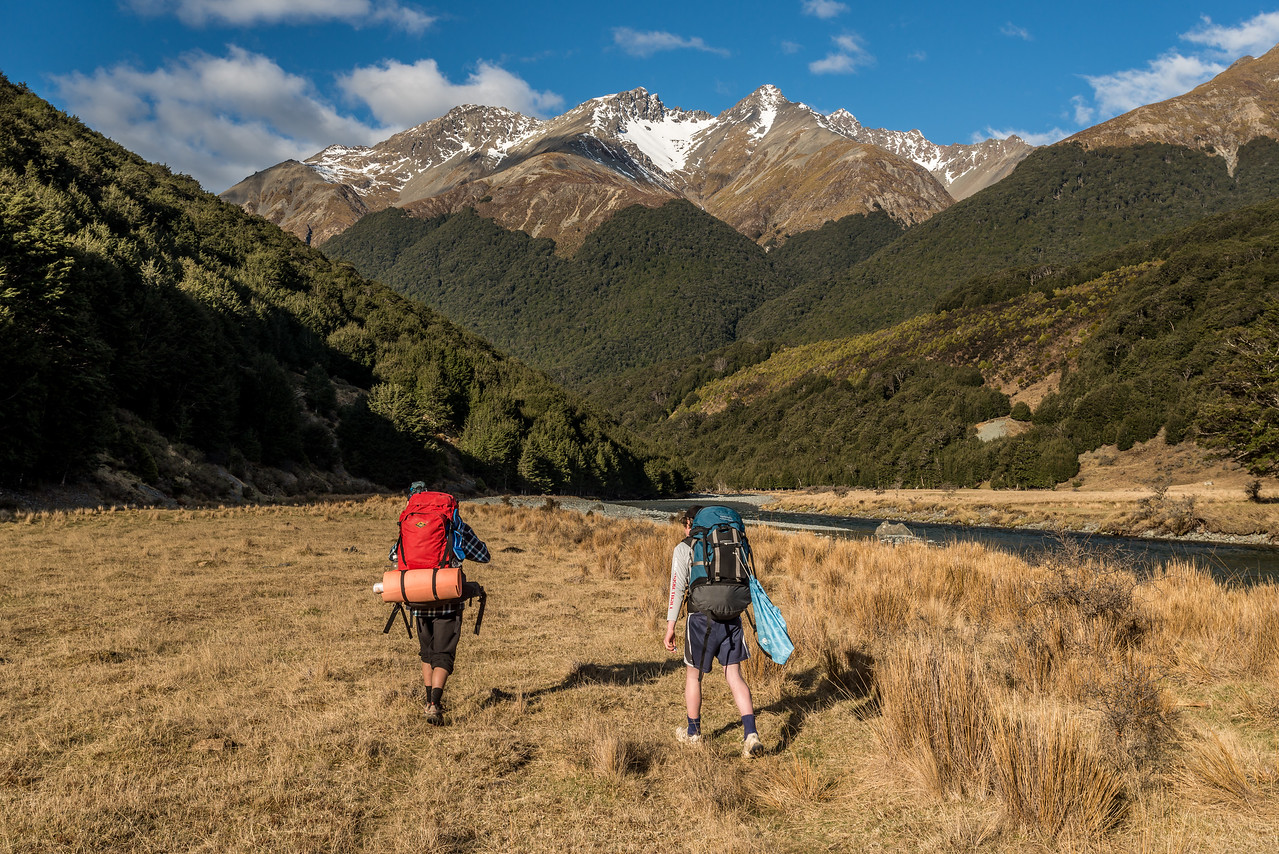 Walking down the Greenstone Track towards Greenstone Hut. The Thomson Mountains above