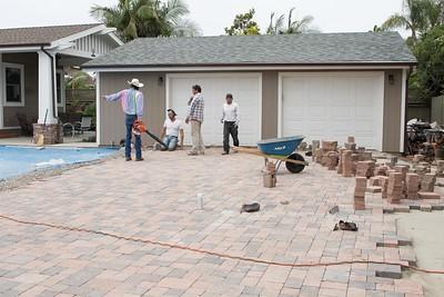 Paver work for back driveway entrance to garage