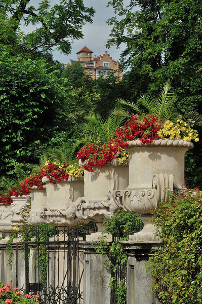 Flower urns in Mirabell Gardens, Salzburg