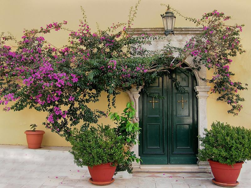 Monastery doorway in Corfu